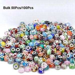 Wholesale-Bulk-Murano-Glass-Charm-Spacer-Beads-For-Bracelets-50-100Pcs-Mixed