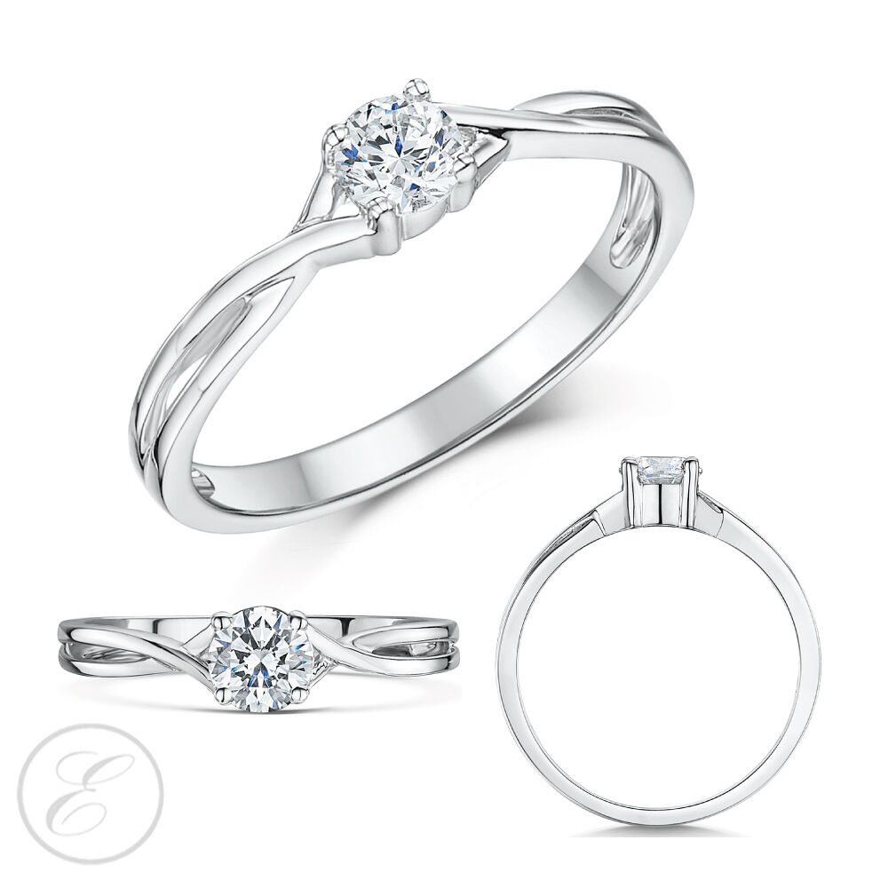 9ct White gold Engagement Ring Diamond Solitaire Quarter Third or Half Carat