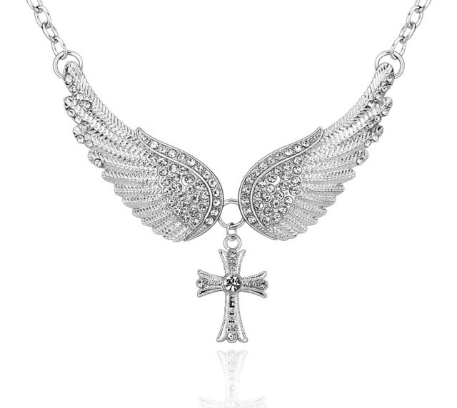 Angel Wings And Cross Choker Silver Color Charm Pendant Necklace For Women New
