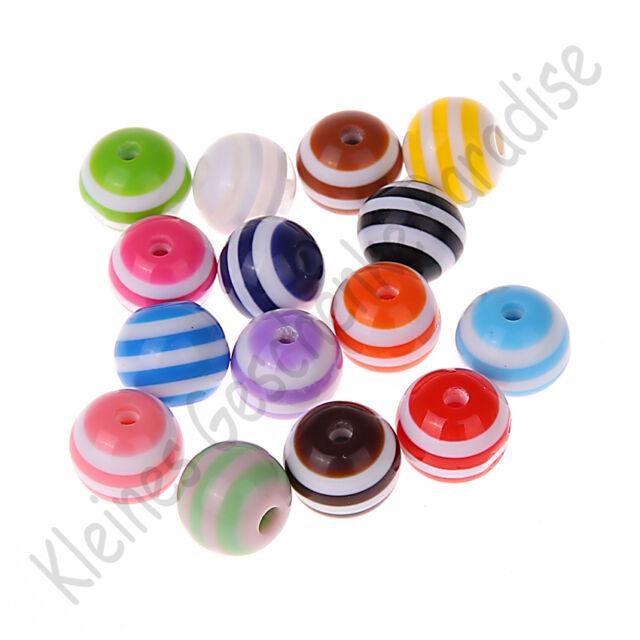 100 bunte Kunststoff Fädelperlen mit Streifen 6mm Perlen