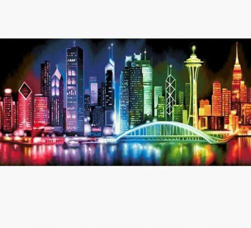 Big City Bright Lights Scene Diamond Painting Full Square Cross Stitch Landscape