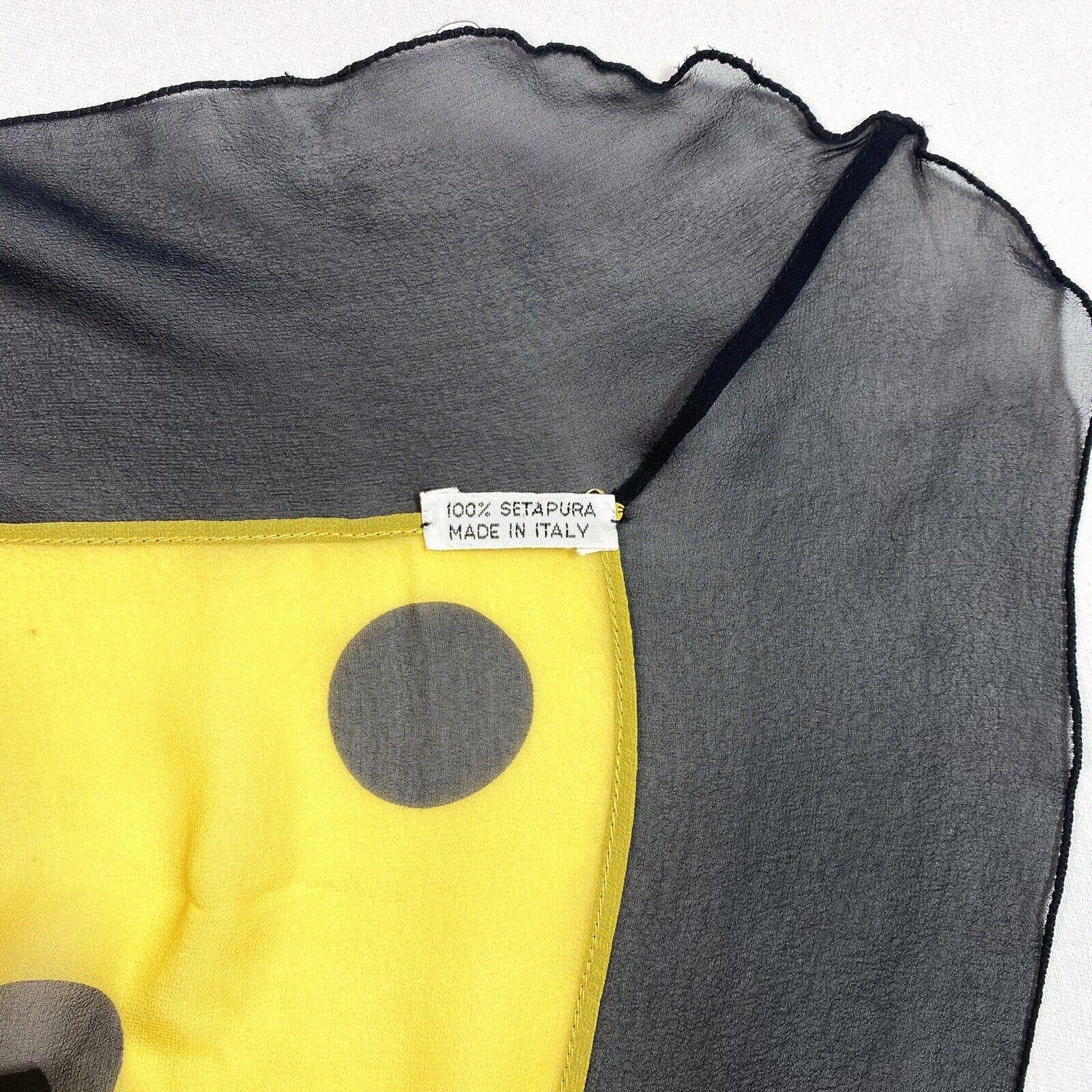 Vtg 80s Brioni Italy Big Sheer Yellow & Black Pol… - image 9