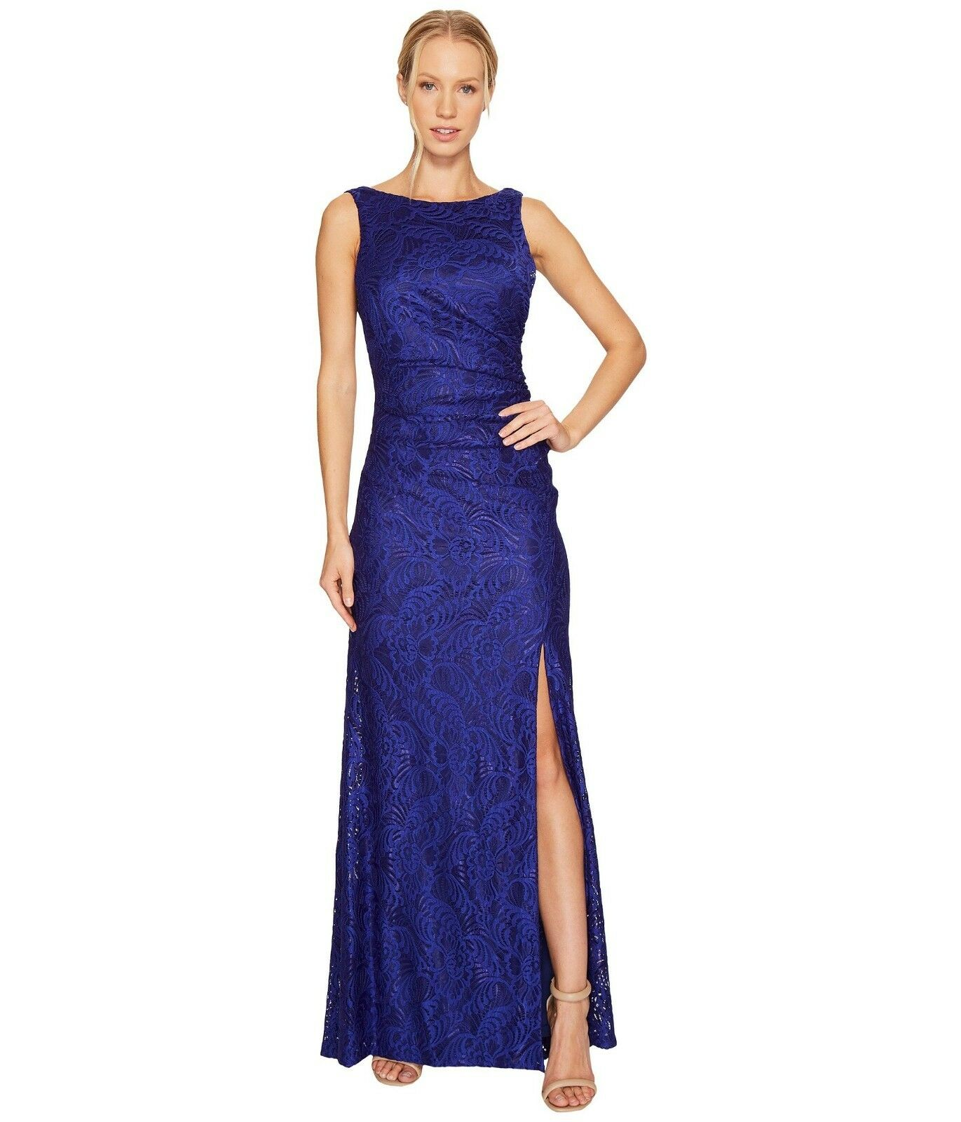 NWT Adrianna Papell Cowl Back in Neptune Blau Ruched Stretch Lace Gown Dress 4