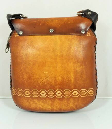 New Genuine Leather OWL Purse Shoulder Purse  Pouch Handbag  Hand Tooled Brown
