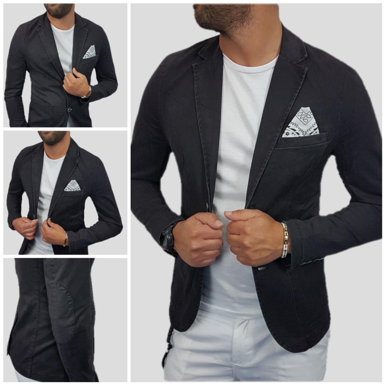 Giacca men Blazer Effetto jeans cotone black Pochette Toppe Slim s,m,l,xl,xxl.