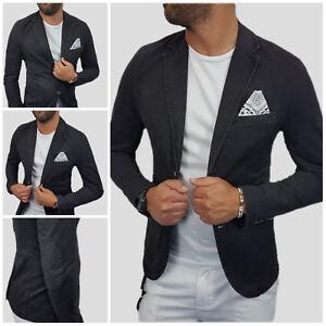 Giacca-Uomo-Blazer-Effetto-jeans-cotone-Nero-Pochette-Toppe-Slim-s-m-l-xl-xxl