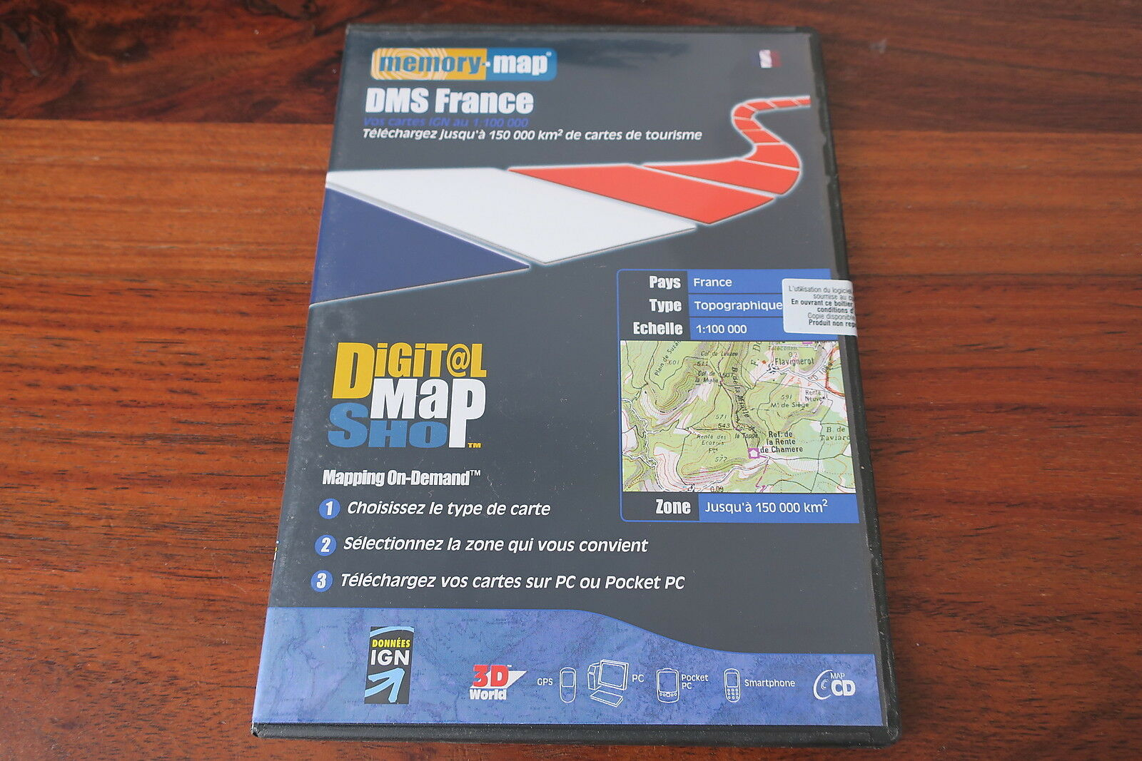MEMORY MAP  DMS FRANCE  150 000 KM2     cartes  IGN  1 100 000  - TOPOGRAPHIQUE