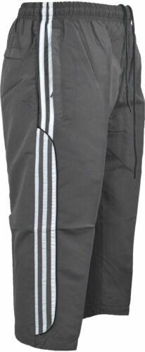 Mens 3//4 Shorts Summer Elasticated Waist Striped Jogging Long Zip Pockets