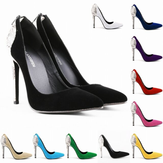 WOMENS FAUX VELVE HIGH HEEL POINTED TOE CORSET PUMPS COURT SHOES SIZE 4 - 11