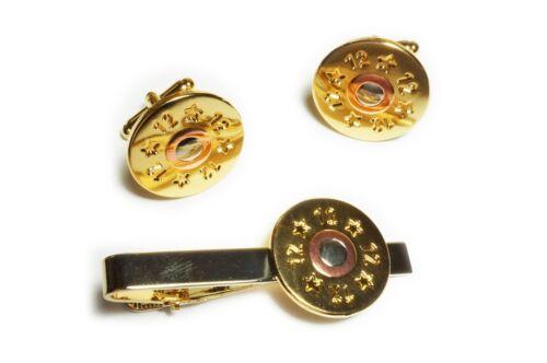 12 GA Gauge Shotgun Shell Cartridge Replica Suit Tie Bar Clip Cufflinks Set