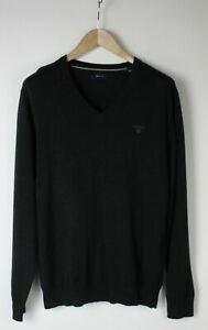 GANT-Men-039-s-MEDIUM-V-Neck-Dark-Grey-Pullover-Sweater-29119-JS