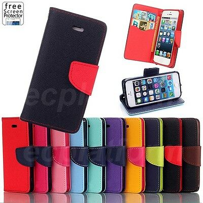 Flip Case Cover for iPhone Samsung Sony HTC Leather Stand Wallet Card Slot Pouch