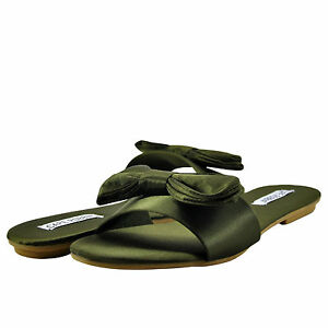 dbbd6e24752a Details about Women s Shoes Cape Robbin Sadie 2 Satin Bow Tie Slide Sandal  Olive  New