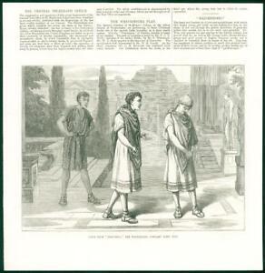 1874-Antique-Print-LONDON-Westminster-Scholars-Latin-Play-Trinummus-86