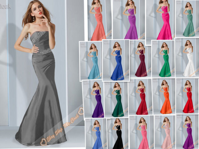 Sexy Mermaid Full Length Satin Prom Dresses Evening Party Bridesmaids Gown 6-26