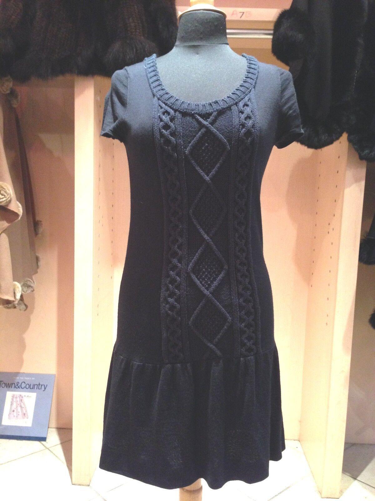 Iisli Medianoche  De Lana Azul vestido de punto grueso Cable Centro colocación Tamaño Pequeño  buena calidad