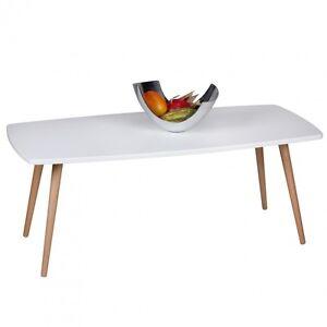 Das Bild Wird Geladen Design Retro Couchtisch 110cm Weiss Matt Wohnzimmertisch Skandinavisch
