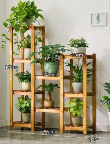 WOODEN SHELF PLANT STAND LADDER BOOK SHELF STORAGE ELEGANT MULTI CHOICE AND USE