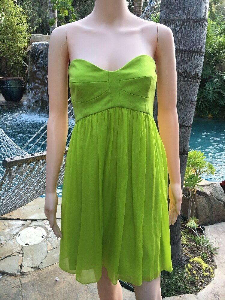 NWT Diane von Furstenberg DVF Asti Strapless Silk Dress Bright Kiwi Grün Größe 8