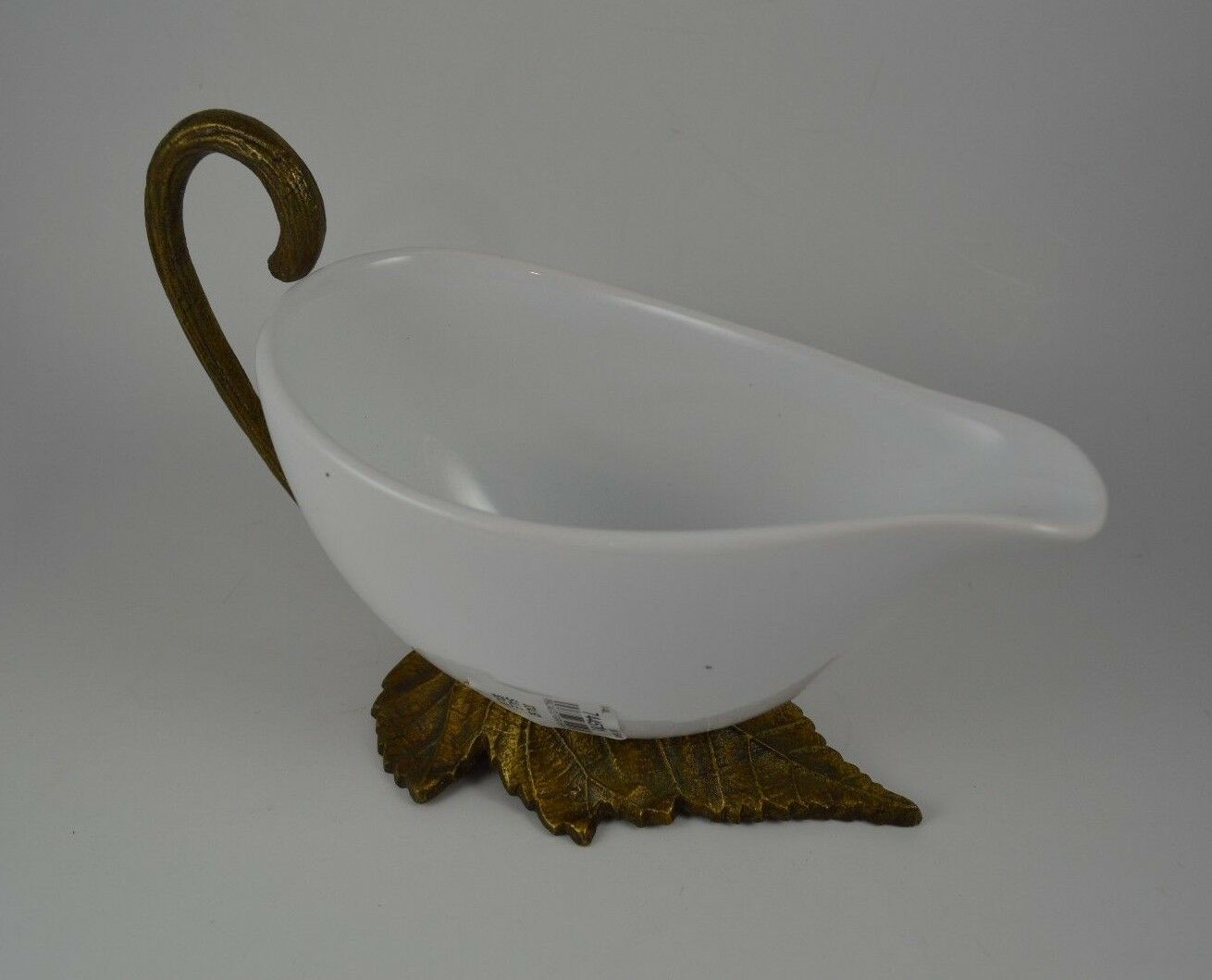 Pottery Barn Cast Leaf Gravy Boat Bowl White Ceramic & gold Leaf