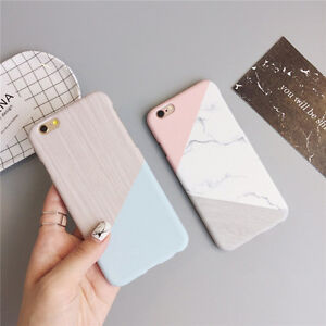 Granite-Marble-Contrast-Color-PC-Hard-Phone-Cover-Case-for-iPhone-6-6S-7-8-Plus