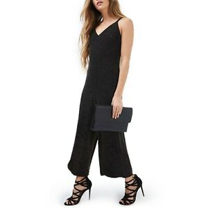 Topshop Black Gold Glitter Wide Leg Shimmer Cropped Jumpsuit NWT Womens 8