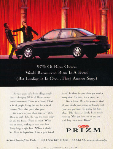 1997 Chevrolet Geo Prizm Original Advertisement Car Print Ad J351