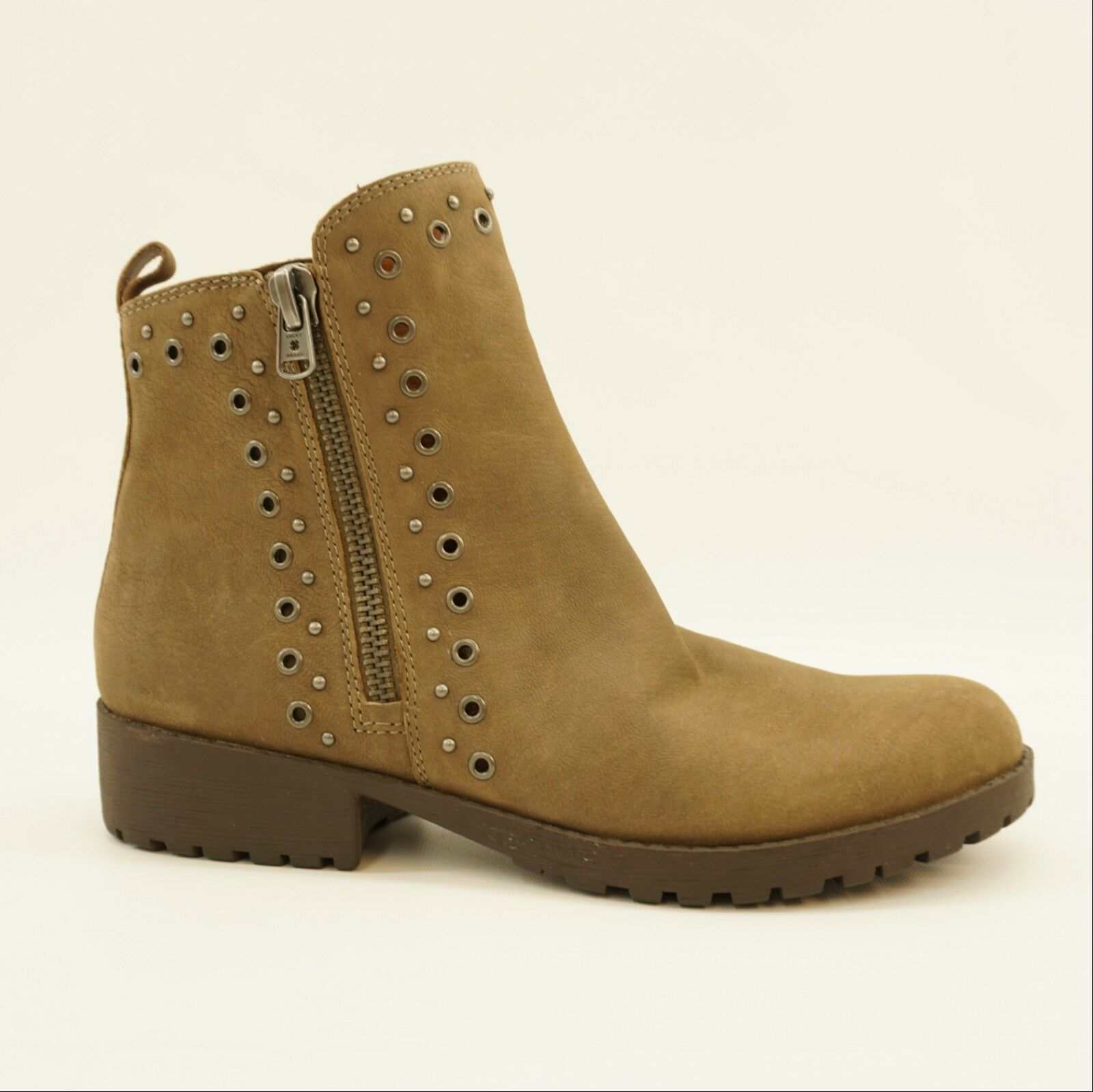 Lucky Brand Womens shoes Hannie Grommet Ankle Motorcycle Boot Taupe 10 Display