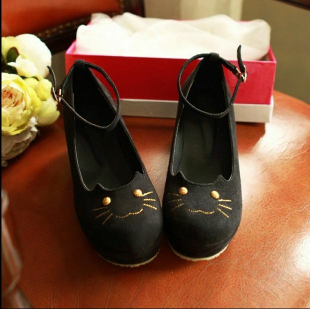 Womens Lolita Platform Creepers High Wedge Heel Ankle Strap Flat shoes Cosplay