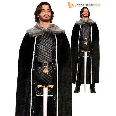 Mens Game of Thrones Fur Cloak Cape Jon Snow Medieval Fancy Dress Costume Adult