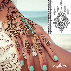 Temporary Tattoo Henna Lotus Flower Pendant Lace Black Hand