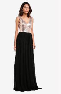 Goddiva-Rose-Gold-amp-Black-Sequin-Dress-Gown-Chiffon-Long-Maxi-Evening-Prom-UK