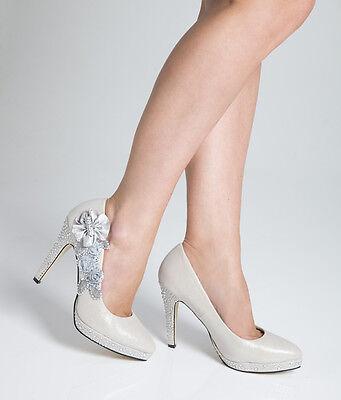 Wedding Shoes - Bride / Bridal / Bridesmaid / Prom / Ivory White - Size 5 UK