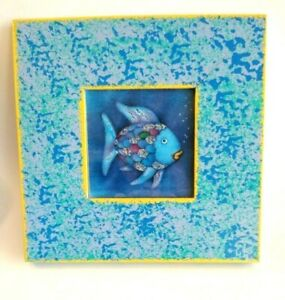 Details About Rainbow Fish In Painted Wood Frame Tropical Ocean Child Nursery Decor