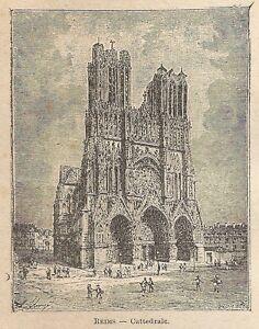 A0169 Reims - Cattedrale - Stampa Antica Del 1907 - Xilografia