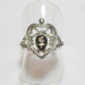 Antik-Style-Rauchtopas-Saat-Perlen-Herz-Ring-925er-Sterlingsilber-53-5-17-mm