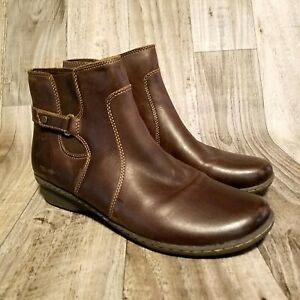 Naturalizer-Womens-Rylen-Sz-11-Brown-Leather-Ankle-Boots-Booties