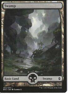 5X SWAMP FULL ART basic land- Battle for Zendikar -MTG - Magic the Gathering