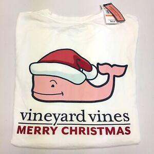 NWT-Vineyard-Vines-t-shirt-merry-christmas-santa-whale-size-women-039-s-small