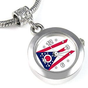 Ohio-State-Flag-Silver-European-Charm-Bead-Quartz-Watch-For-Bracelet-EBA452
