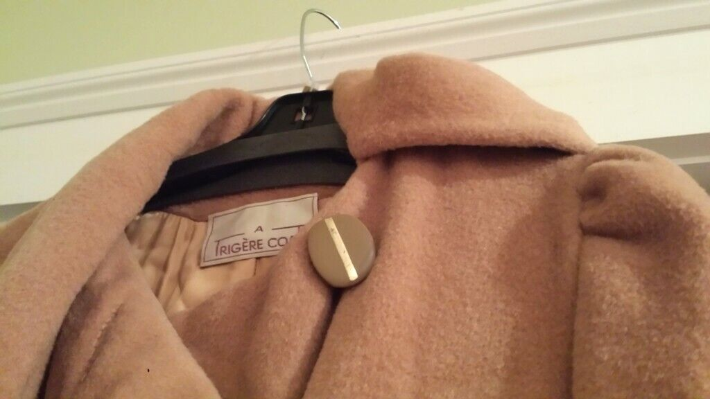 Vintage Trigere Camel Wool Long Coat with Scarf -… - image 4