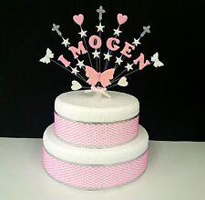 Farfalla, Cuore, Stella comunione o battesimo cake topper, Personalizzata
