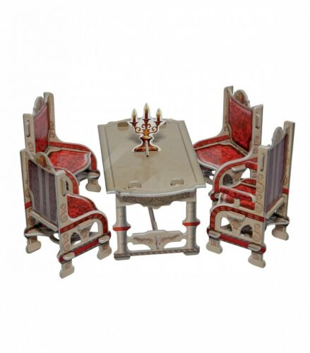 Dining Room Gray and Home Decor Dollhouse Furniture Dolls Cardboard Model Kit
