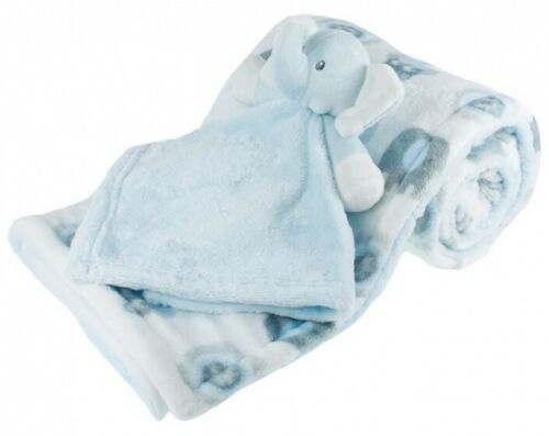 Soft Touch-Coperta con brillanti elefanti 70 x 100 cm Bianco//Blu