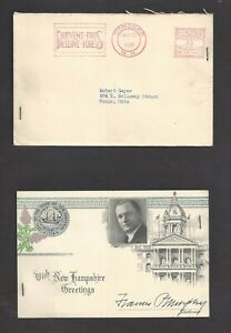 New Hampshire Governor Francis P. Murphy 1938 Autograph Note Envelope