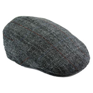 Image is loading Harris-Tweed-Cap-Berneray-Grey-Various-Sizes a1fa8af55eb