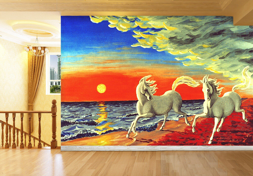 3D Sunset beach horses paint Wall Paper Print Print Print Decal Wall Deco Indoor wall Mural b3a993