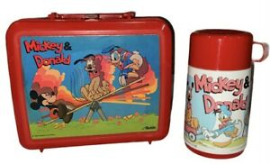 Walt Disney's Mickey & Donald Plastic Red Aladdin Lunch Box & Thermos