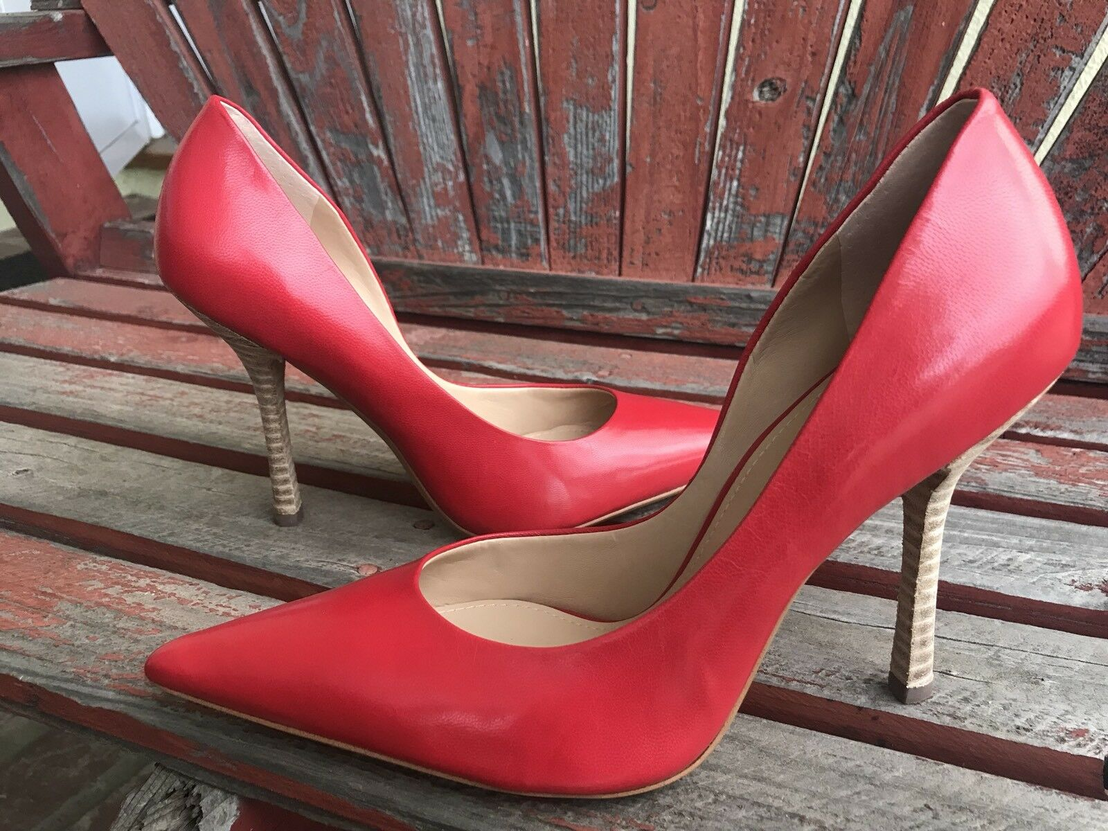 blood orANgE RED Sz 8.5 NEW Leather Pointy Pointy Pointy Toe CARRIE Stiletto Heels PUMP GuESS 368fbd