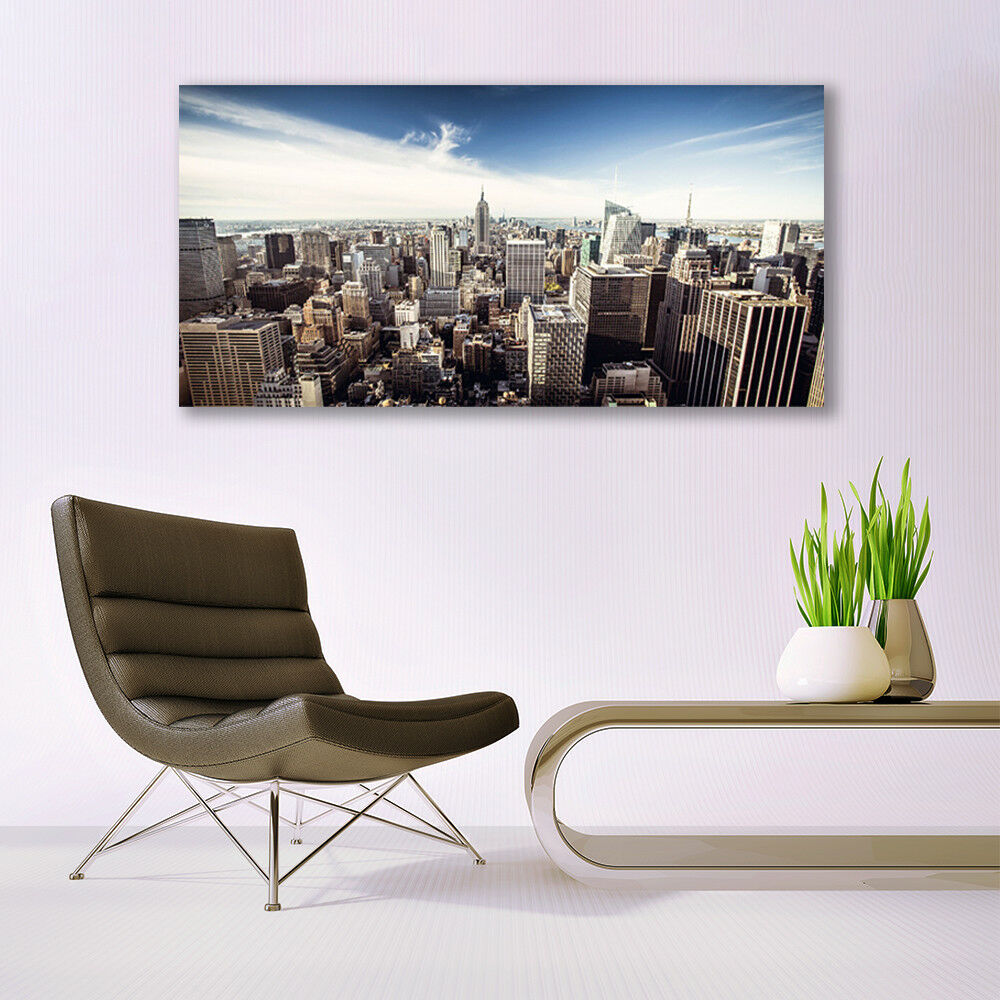 Glass Glass Glass print Wall art 140x70 Image Picture City Houses df7868